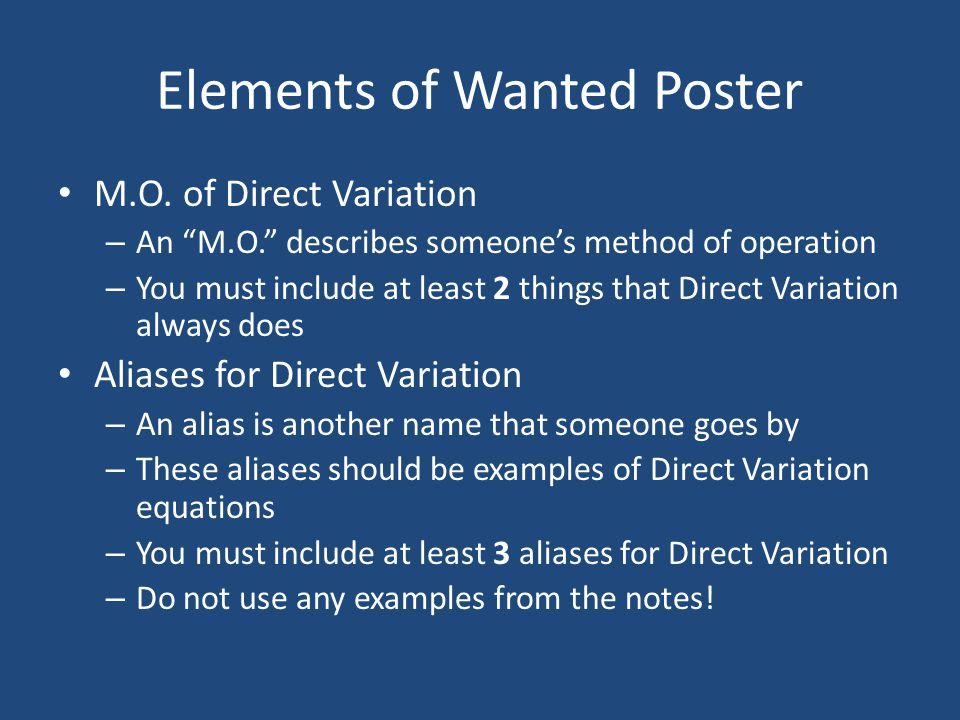 Elements of Wanted Poster M.O.