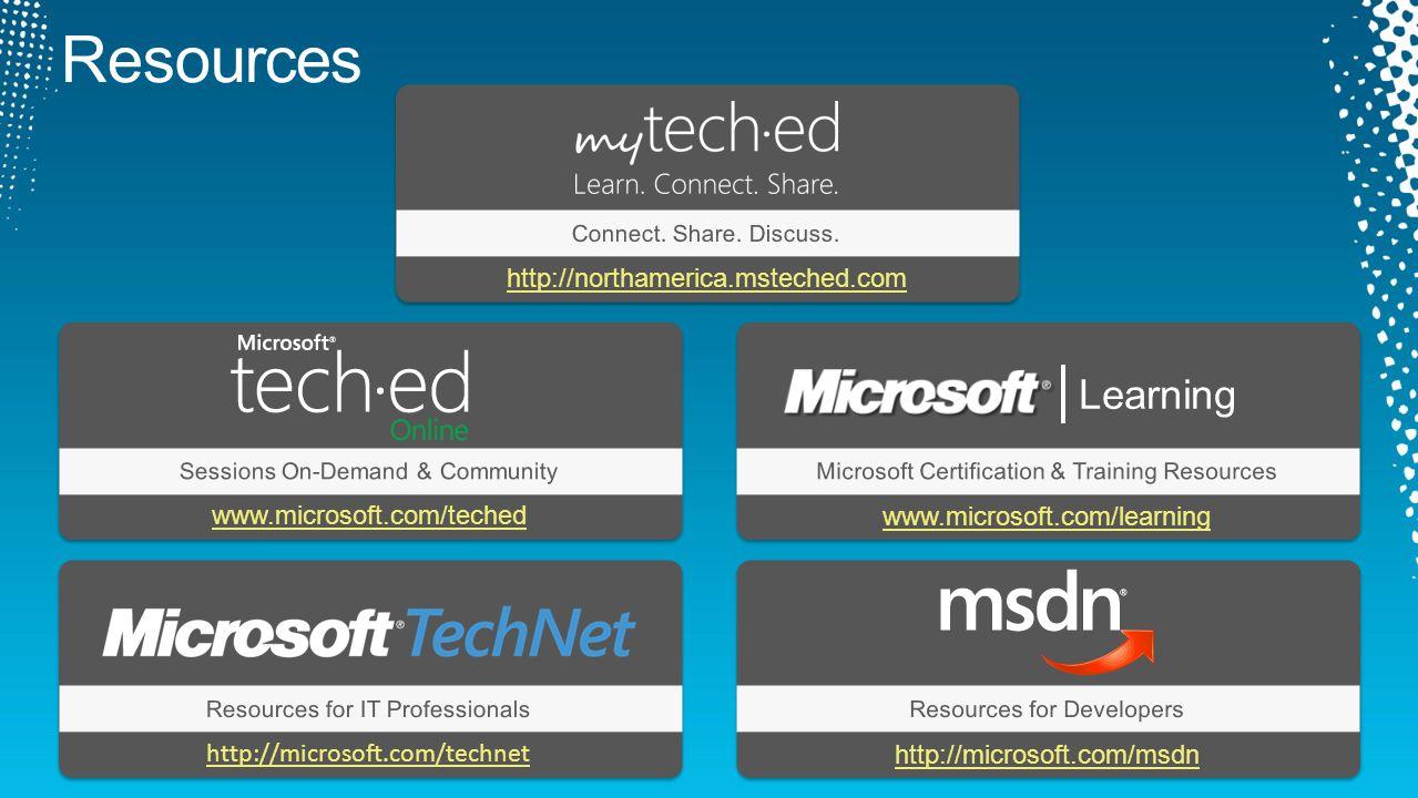 www.microsoft.com/teched Sessions On-Demand & CommunityMicrosoft Certification & Training Resources Resources for IT ProfessionalsResources for Develo