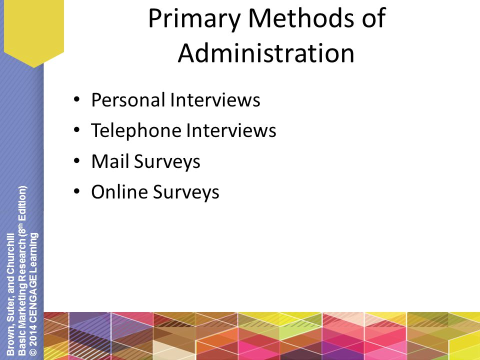 Brown, Suter, and Churchill Basic Marketing Research (8 th Edition) © 2014 CENGAGE Learning Primary Methods of Administration Personal Interviews Telephone Interviews Mail Surveys Online Surveys