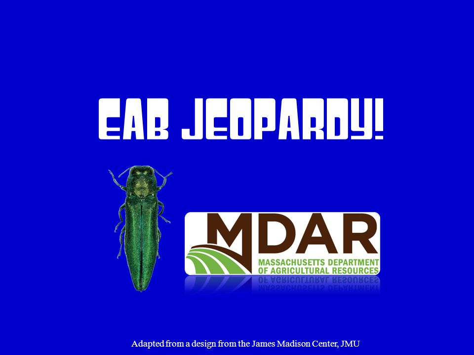 EAB Jeopardy! Adapted from a design from the James Madison Center, JMU