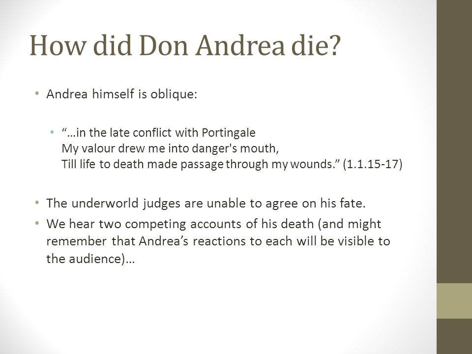 How did Don Andrea die.