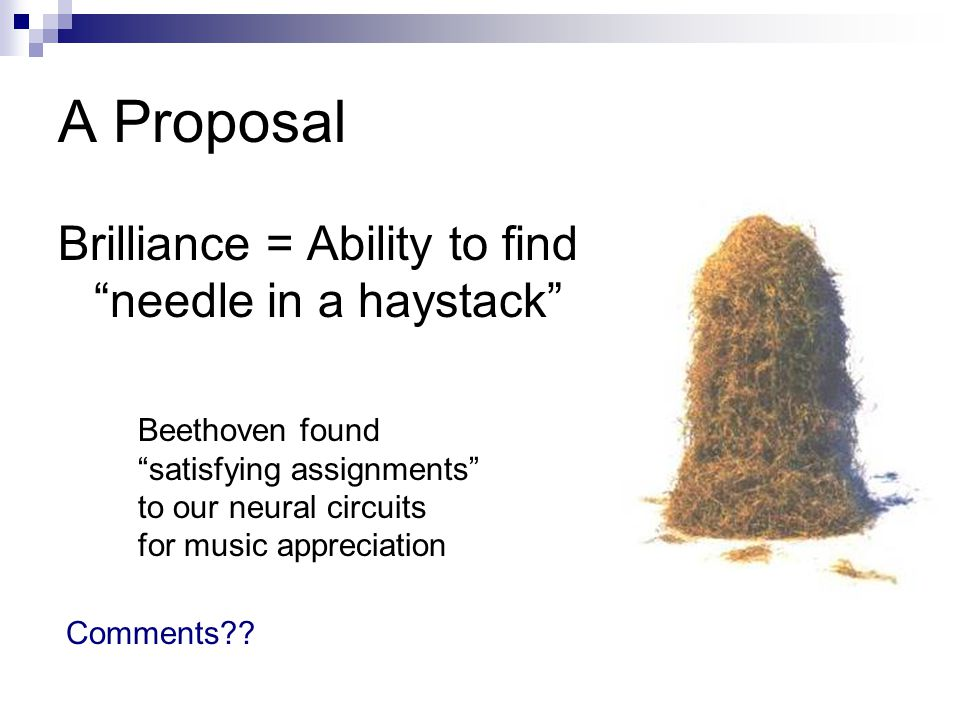 A Proposal Brilliance = Ability to find needle in a haystack Comments .