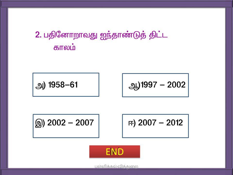 2. gÂndhwhtJ Iªjh©L¤ £l fhy« m) 1958-61 M)1997 - 2002 Ï) 2002 - 2007 <) 2007 - 2012 END பள்ளிக்கல்வித்துறை