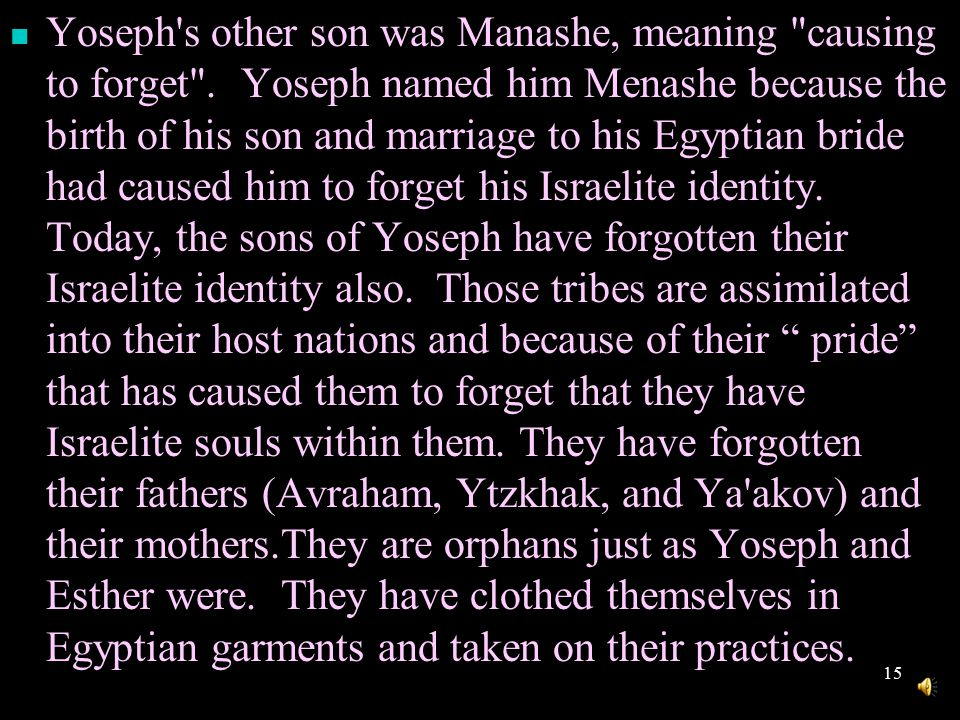 14 The lost tribes of Yoseph, which have been veiled in darkness, are often referred to as lost .