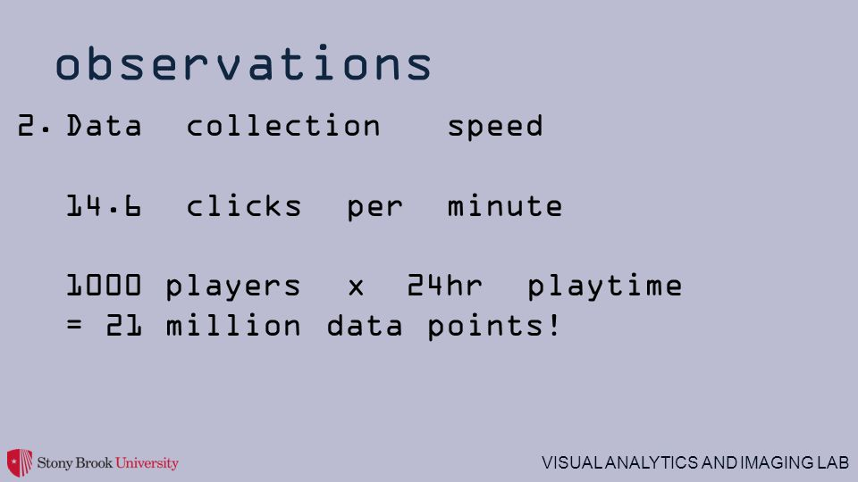 VISUAL ANALYTICS AND IMAGING LAB observations 2.Data collection speed 14.6 clicks per minute 1000 players x 24hr playtime = 21 million data points!