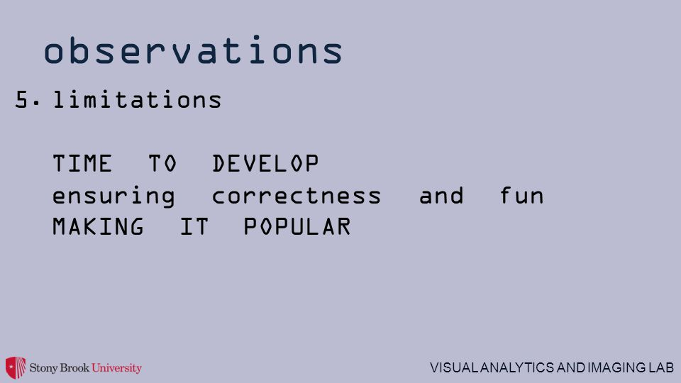 VISUAL ANALYTICS AND IMAGING LAB observations 5.limitations TIME TO DEVELOP ensuring correctness and fun MAKING IT POPULAR