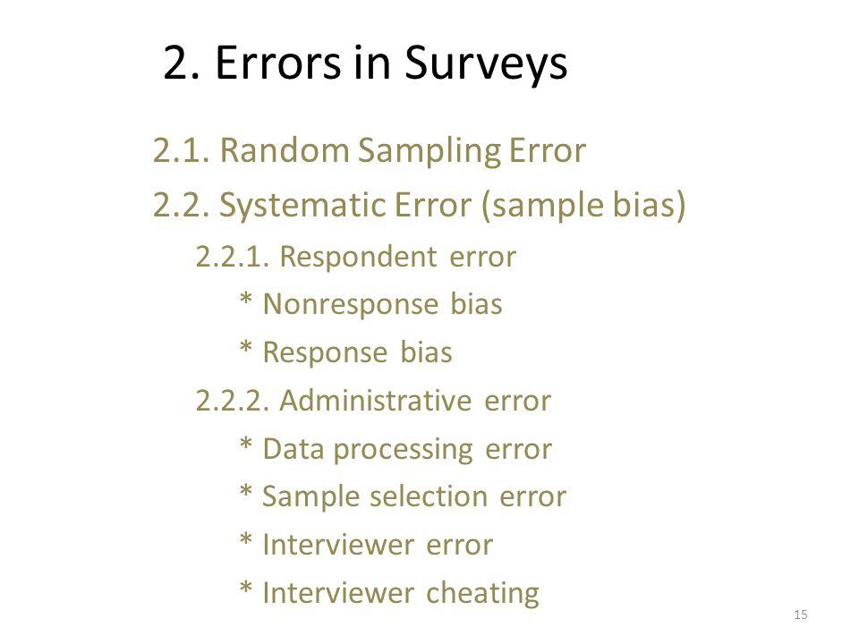 2. Errors in Surveys 2.1. Random Sampling Error 2.2.