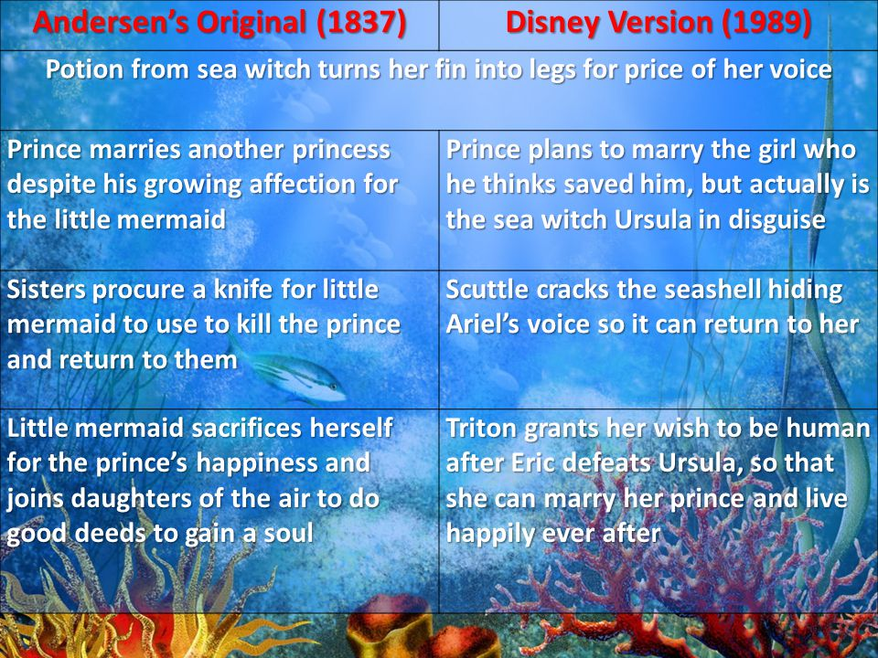 Andersen's Original (1837) Disney Version (1989) Potion from sea witch turns her fin into legs for price of her voice Prince marries another princess despite his growing affection for the little mermaid Prince plans to marry the girl who he thinks saved him, but actually is the sea witch Ursula in disguise Sisters procure a knife for little mermaid to use to kill the prince and return to them Scuttle cracks the seashell hiding Ariel's voice so it can return to her Little mermaid sacrifices herself for the prince's happiness and joins daughters of the air to do good deeds to gain a soul Triton grants her wish to be human after Eric defeats Ursula, so that she can marry her prince and live happily ever after