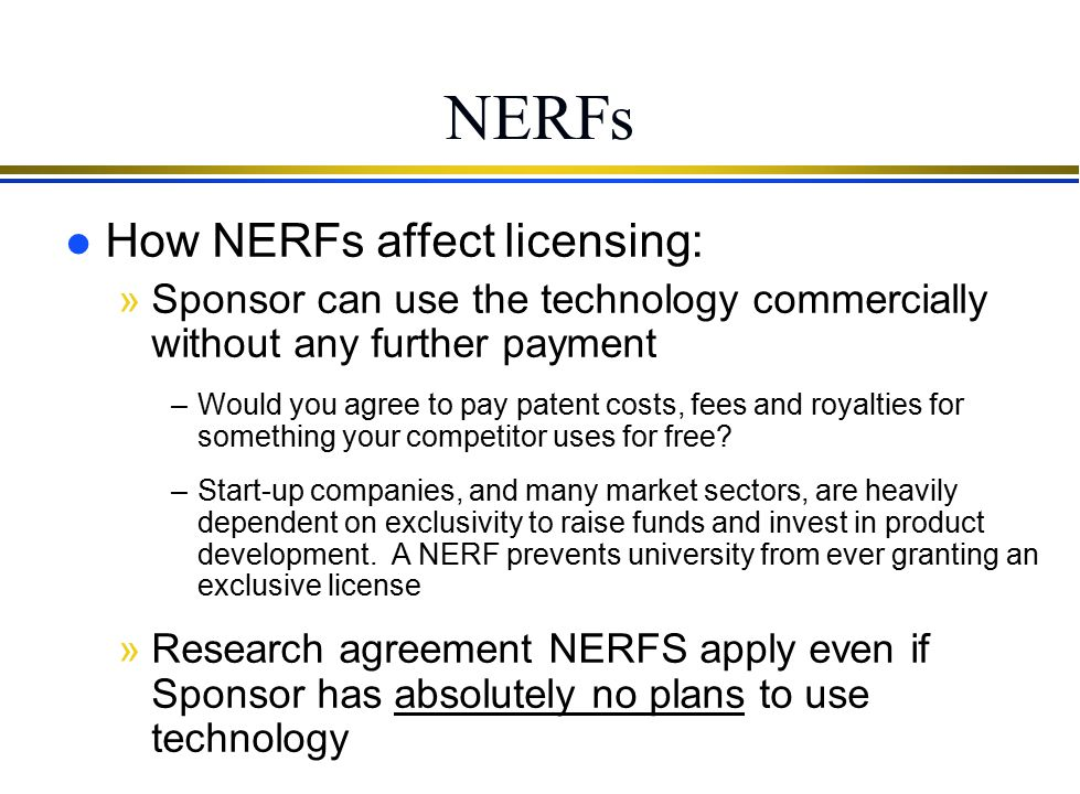"Non-Exclusive Royalty-Free Licenses (""NERFS"")"
