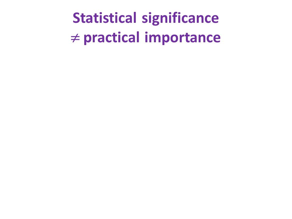Statistical significance  practical importance