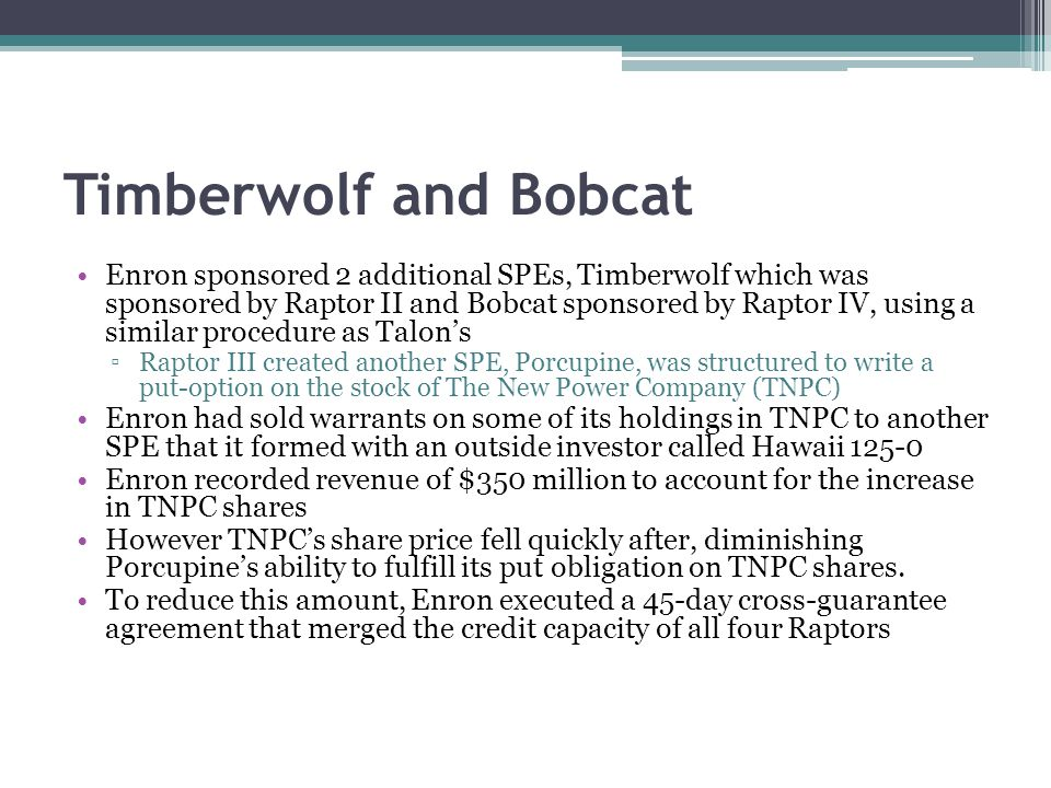 Timberwolf and Bobcat Enron sponsored 2 additional SPEs, Timberwolf which was sponsored by Raptor II and Bobcat sponsored by Raptor IV, using a similar procedure as Talon's ▫Raptor III created another SPE, Porcupine, was structured to write a put-option on the stock of The New Power Company (TNPC) Enron had sold warrants on some of its holdings in TNPC to another SPE that it formed with an outside investor called Hawaii 125-0 Enron recorded revenue of $350 million to account for the increase in TNPC shares However TNPC's share price fell quickly after, diminishing Porcupine's ability to fulfill its put obligation on TNPC shares.
