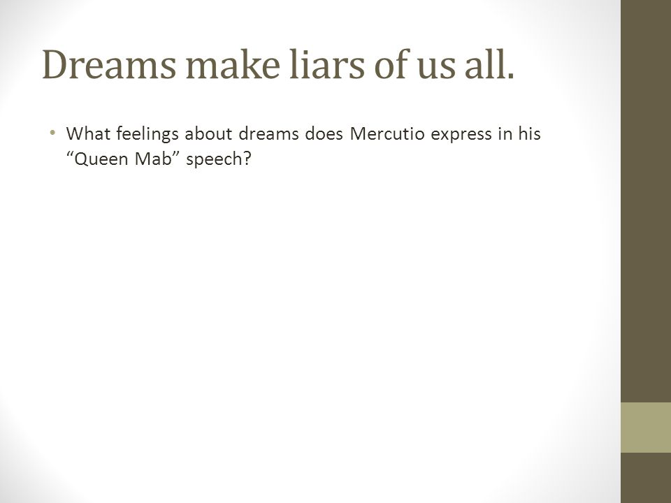 """Dreams make liars of us all. What feelings about dreams does Mercutio express in his """"Queen Mab"""" speech?"""
