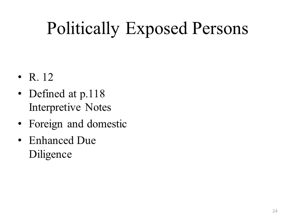 Politically Exposed Persons R.