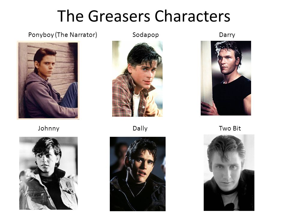 The Greasers Characters Ponyboy (The Narrator)SodapopDarry JohnnyDallyTwo Bit