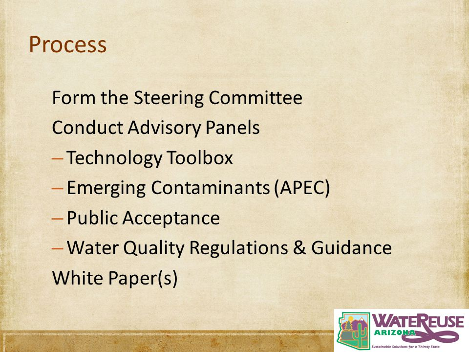 Process Form the Steering Committee Conduct Advisory Panels – Technology Toolbox – Emerging Contaminants (APEC) – Public Acceptance – Water Quality Re