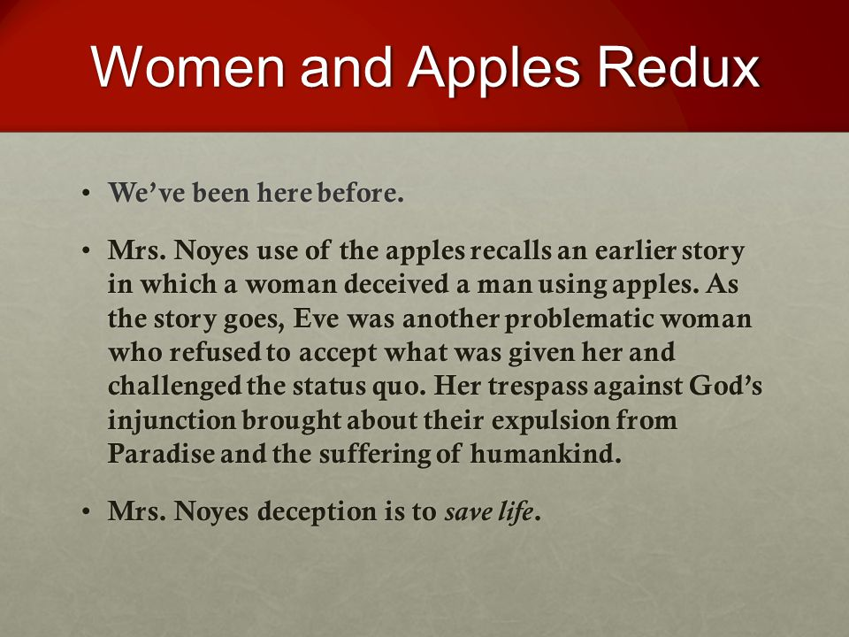 Women and Apples Redux We've been here before. We've been here before.