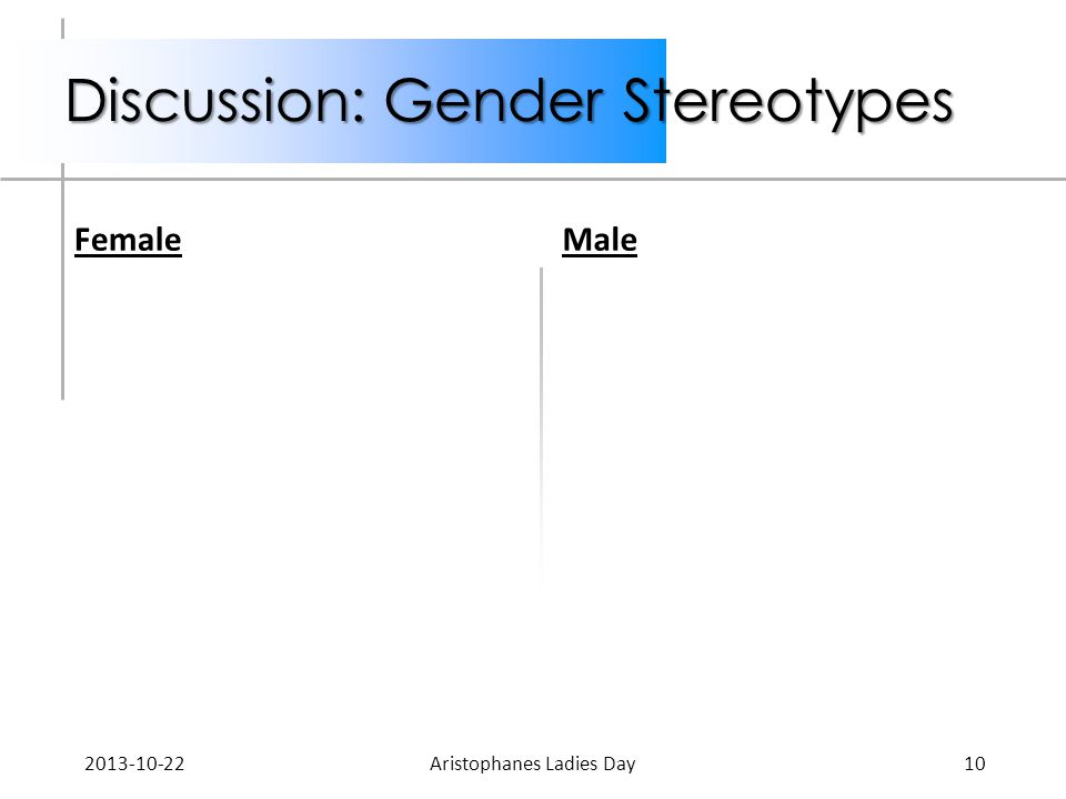 Discussion: Gender Stereotypes FemaleMale 2013-10-22Aristophanes Ladies Day10
