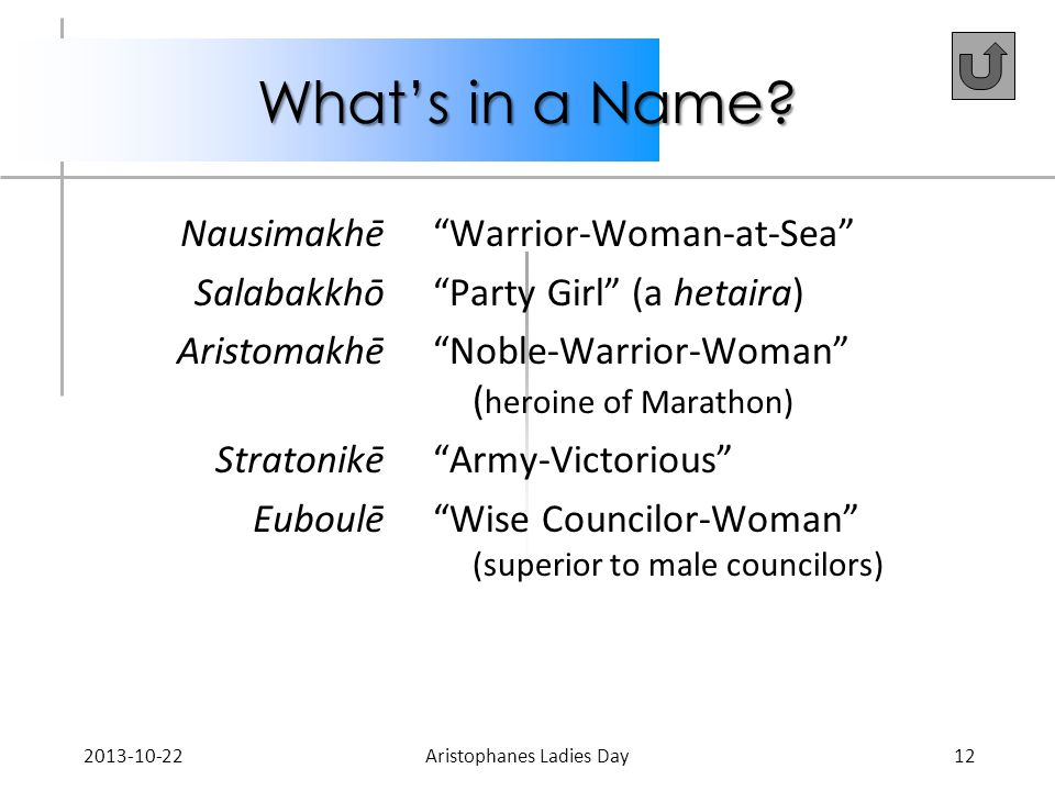 "What's in a Name? Nausimakhē Salabakkhō Aristomakhē Stratonikē Euboulē ""Warrior-Woman-at-Sea"" ""Party Girl"" (a hetaira) ""Noble-Warrior-Woman"" ( heroine"