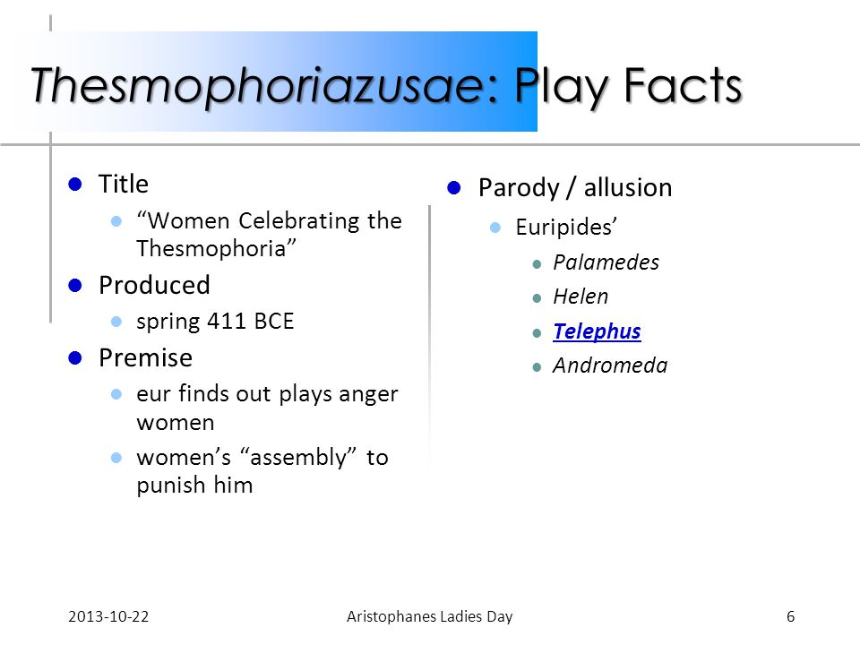 "Thesmophoriazusae: Play Facts Title ""Women Celebrating the Thesmophoria"" Produced spring 411 BCE Premise eur finds out plays anger women women's ""asse"