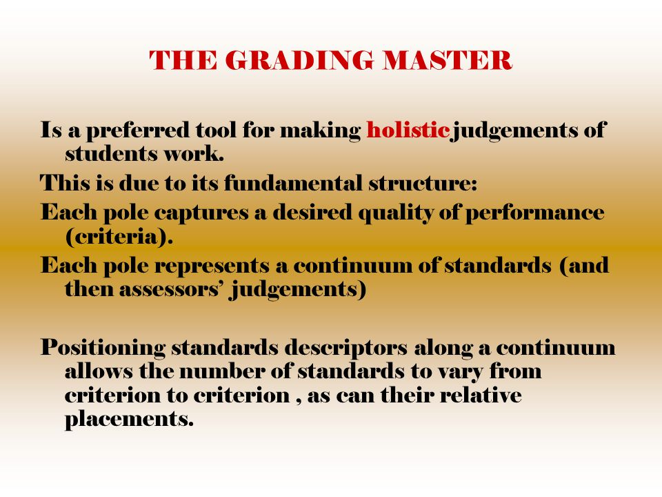 THE GRADING MASTER Is a preferred tool for making holistic judgements of students work.