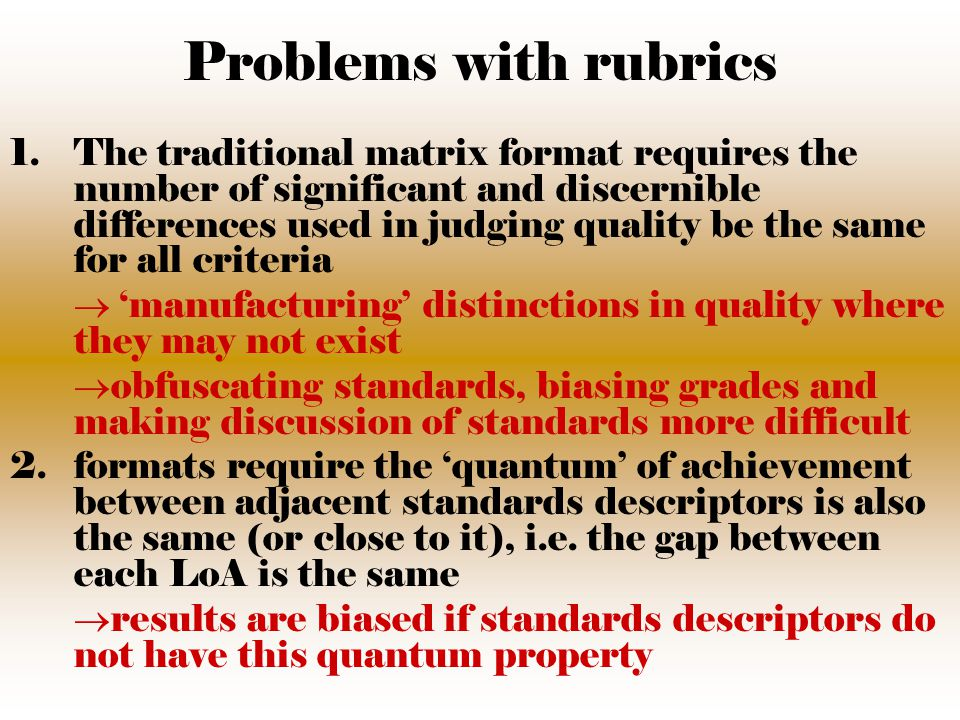 Problems with rubrics (cont'd) 3.