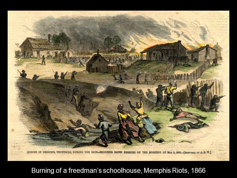 Burning of a freedman's schoolhouse, Memphis Riots, 1866