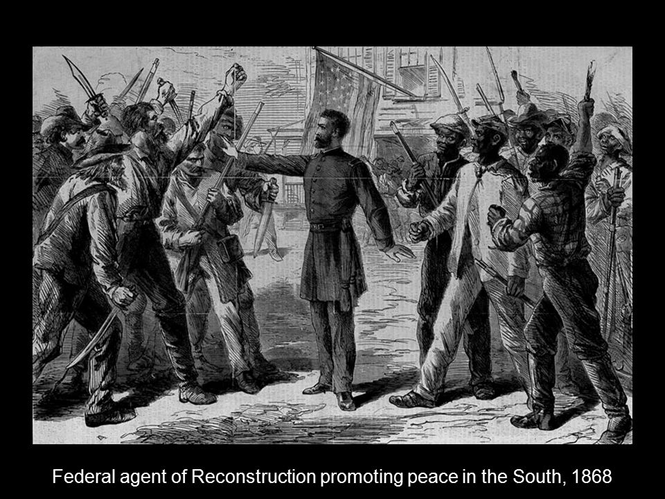 Federal agent of Reconstruction promoting peace in the South, 1868