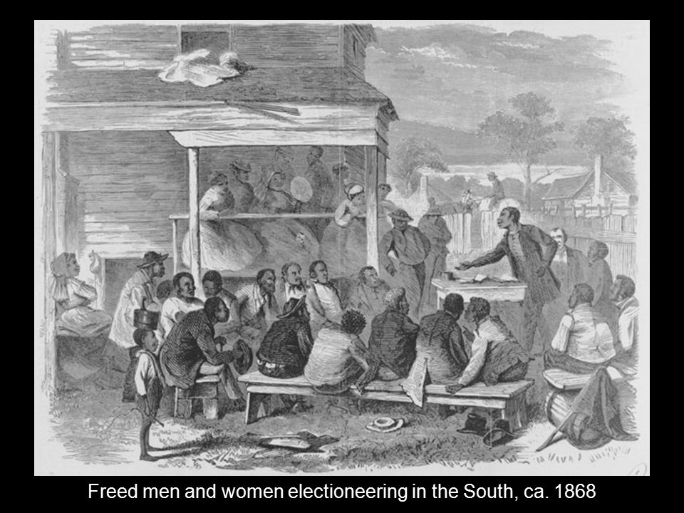 Freed men and women electioneering in the South, ca. 1868