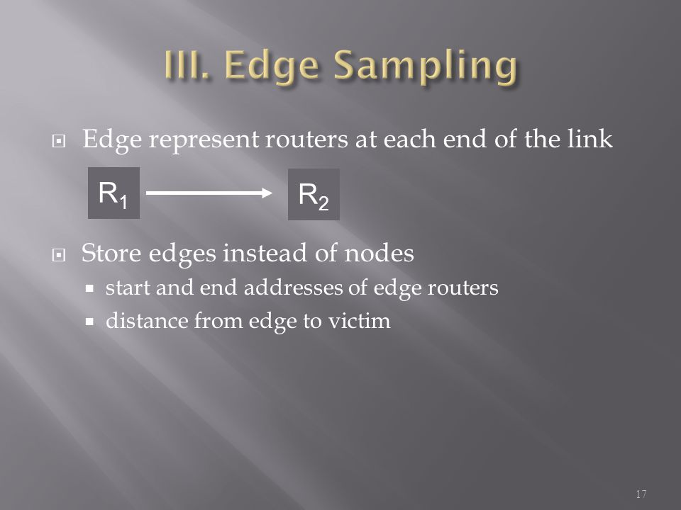  Edge represent routers at each end of the link  Store edges instead of nodes  start and end addresses of edge routers  distance from edge to victim 17 R1R1 R2R2