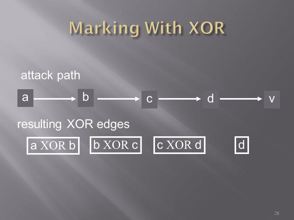 a b cdv attack path resulting XOR edges a XOR b b XOR cc XOR dd 26