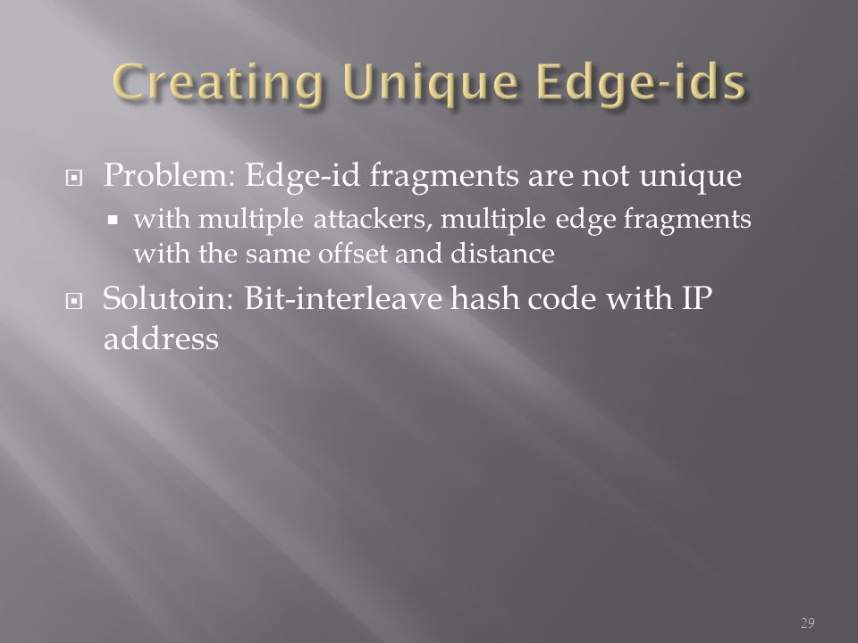  Problem: Edge-id fragments are not unique  with multiple attackers, multiple edge fragments with the same offset and distance  Solutoin: Bit-interleave hash code with IP address 29
