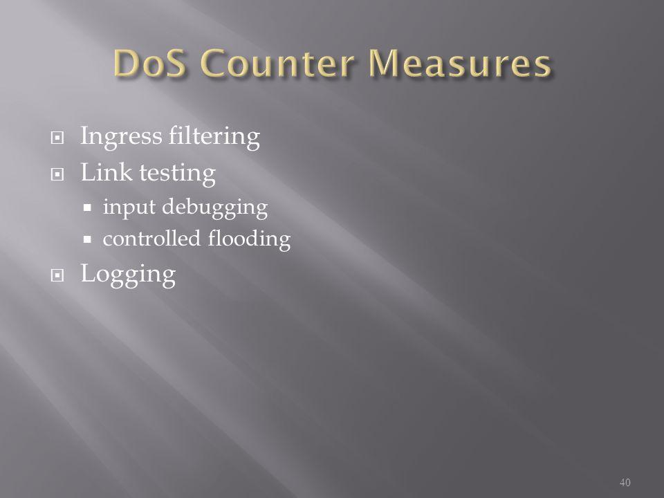  Ingress filtering  Link testing  input debugging  controlled flooding  Logging 40