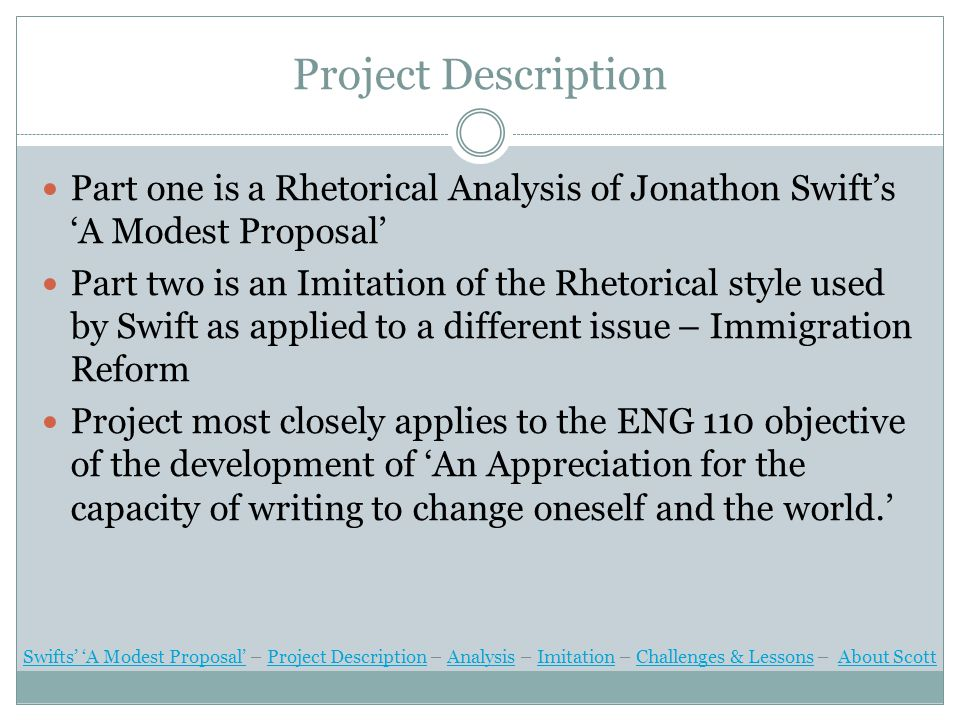 Swifts' 'A Modest Proposal' Jonathon Swift's 'A Modest Proposal' stands outs, not only as one of the great satirical works in the history of western literature, but also for its creative use of rhetoric.