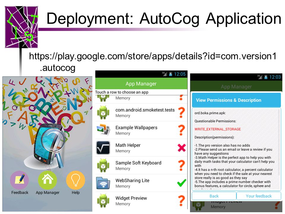 Deployment: AutoCog Application https://play.google.com/store/apps/details?id=com.version1.autocog 34