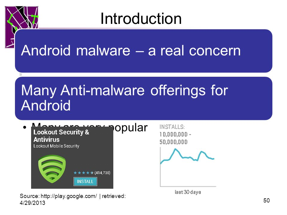 Introduction Android malware – a real concern Many Anti-malware offerings for Android Many are very popular 50 Source: http://play.google.com/ | retrieved: 4/29/2013