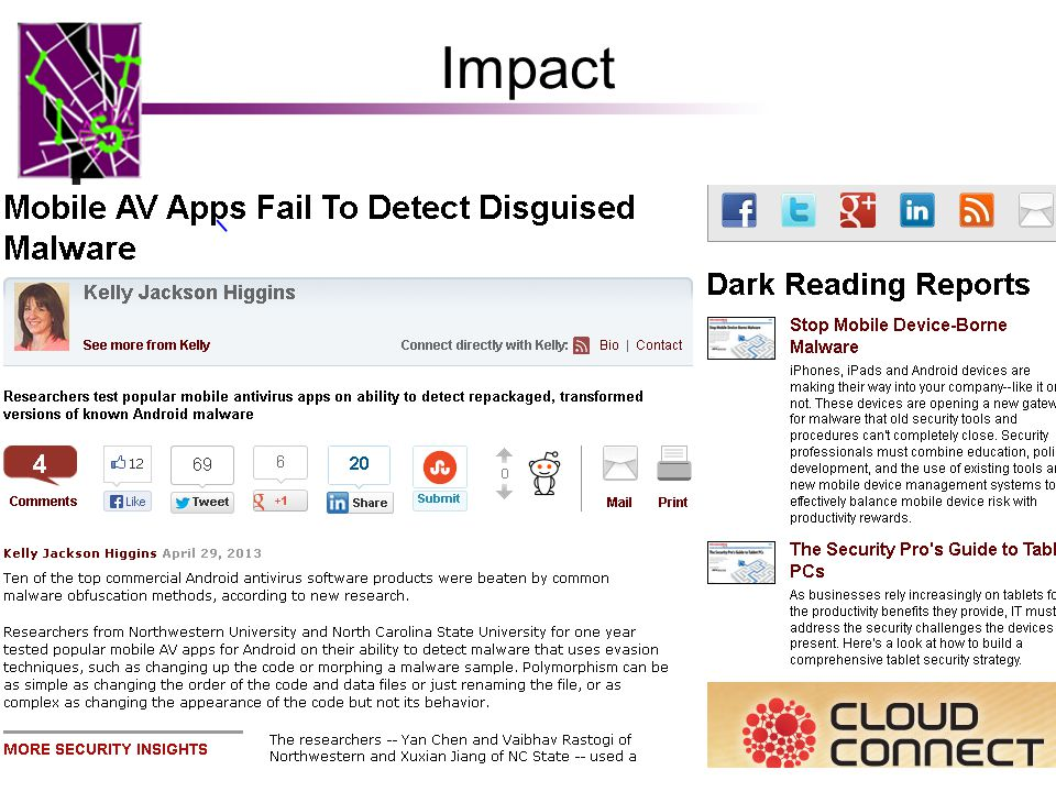 Impact The focus of a Dark Reading article on April 29, 2013 Then featured by Information Week, The H, heise Security, Security Week, Slashdot, Help N