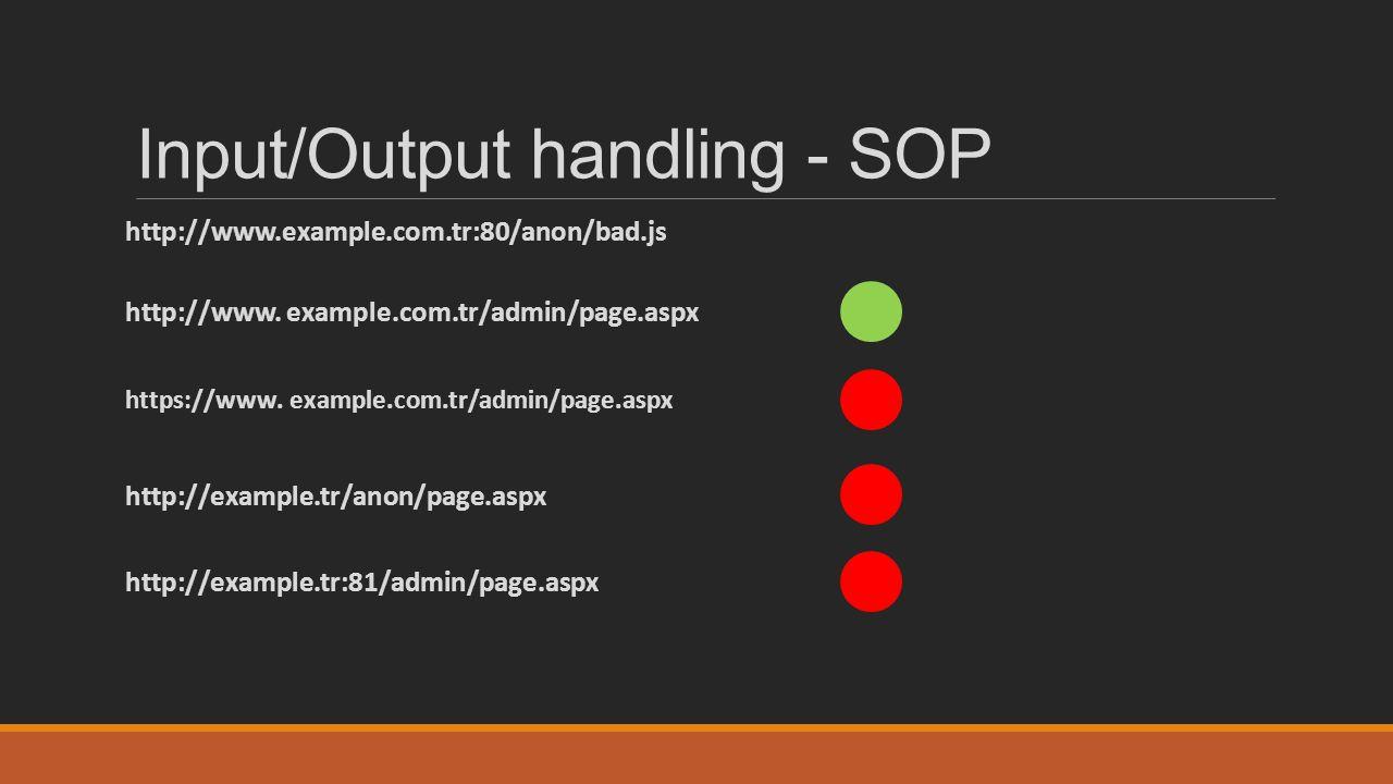 Input/Output handling - SOP http://www.example.com.tr:80/anon/bad.js http://www. example.com.tr/admin/page.aspx https://www. example.com.tr/admin/page