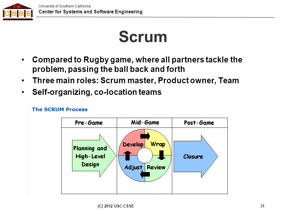 University of Southern California Center for Systems and Software Engineering Scrum Compared to Rugby game, where all partners tackle the problem, pas