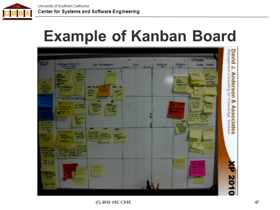University of Southern California Center for Systems and Software Engineering Example of Kanban Board (C) 2012 USC-CSSE47