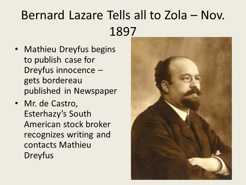 Bernard Lazare Tells all to Zola – Nov.