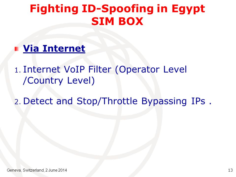 Fighting ID-Spoofing in Egypt SIM BOX Via Internet 1.