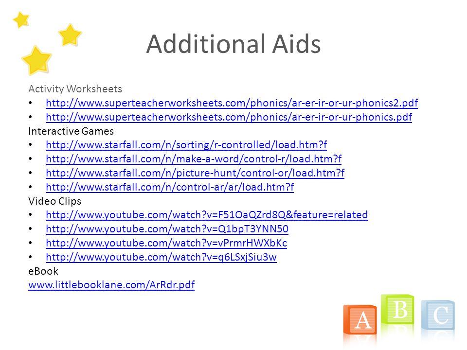 Additional Aids Activity Worksheets http://www.superteacherworksheets.com/phonics/ar-er-ir-or-ur-phonics2.pdf http://www.superteacherworksheets.com/phonics/ar-er-ir-or-ur-phonics.pdf Interactive Games http://www.starfall.com/n/sorting/r-controlled/load.htm?f http://www.starfall.com/n/make-a-word/control-r/load.htm?f http://www.starfall.com/n/picture-hunt/control-or/load.htm?f http://www.starfall.com/n/control-ar/ar/load.htm?f Video Clips http://www.youtube.com/watch?v=F51OaQZrd8Q&feature=related http://www.youtube.com/watch?v=Q1bpT3YNN50 http://www.youtube.com/watch?v=vPrmrHWXbKc http://www.youtube.com/watch?v=q6LSxjSiu3w eBook www.littlebooklane.com/ArRdr.pdf