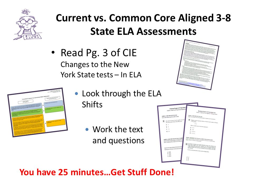 Current vs. Common Core Aligned 3-8 State ELA Assessments Read Pg. 3 of CIE Changes to the New York State tests – In ELA Look through the ELA Shifts W