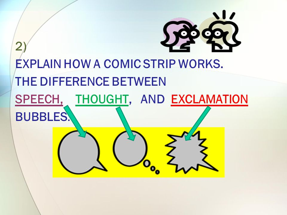 HOW YOU WILL TEACH IT… 1)COMIC STRIP BUBBLES ARE THE ROUNDED SHAPES IN COMIC STRIPS WHERE DIALOG OR THOUGHTS APPEAR.