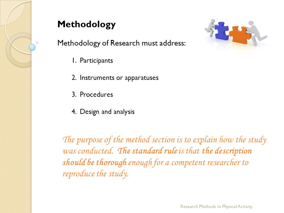 Methodology Methodology of Research must address: 1. Participants 2. Instruments or apparatuses 3. Procedures 4. Design and analysis The purpose of th