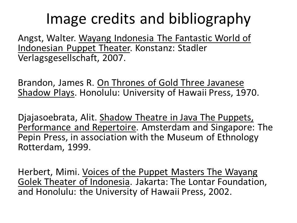 Image credits and bibliography Angst, Walter.