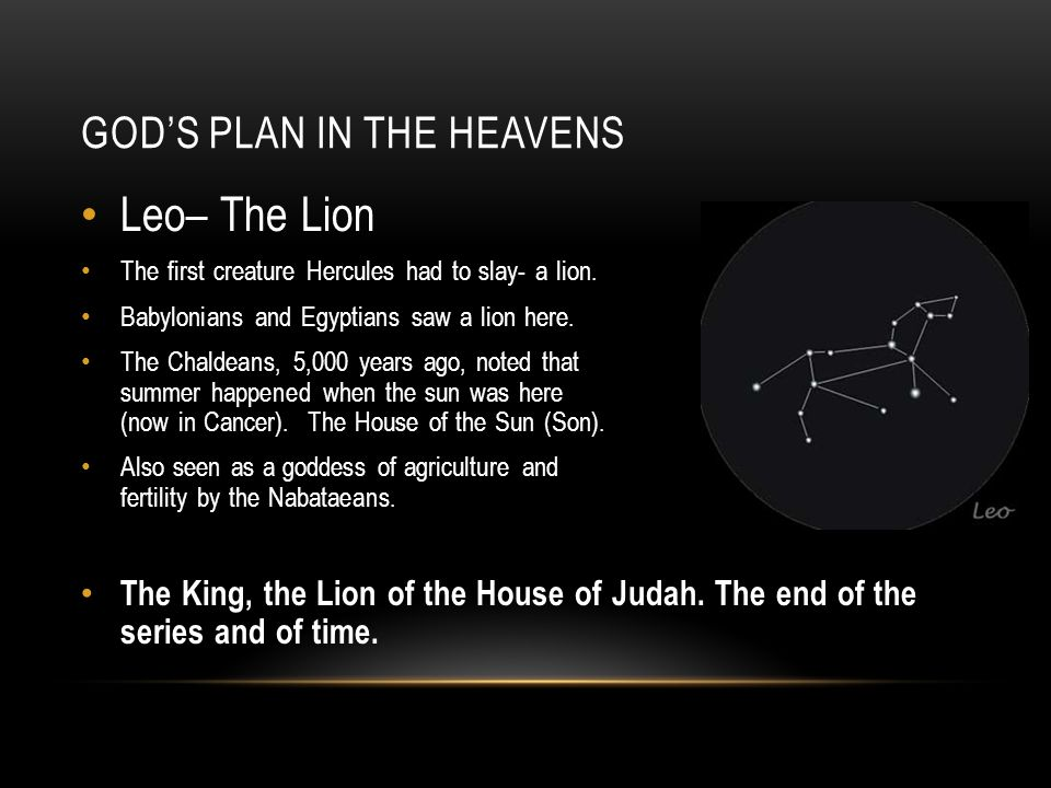 GOD'S PLAN IN THE HEAVENS Leo– The Lion The first creature Hercules had to slay- a lion.
