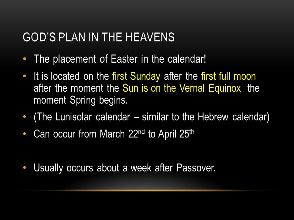 GOD'S PLAN IN THE HEAVENS The placement of Easter in the calendar! It is located on the first Sunday after the first full moon after the moment the Su