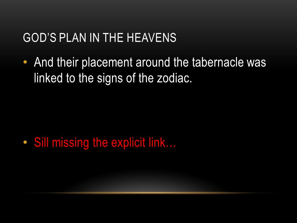 GOD'S PLAN IN THE HEAVENS And their placement around the tabernacle was linked to the signs of the zodiac. Sill missing the explicit link…