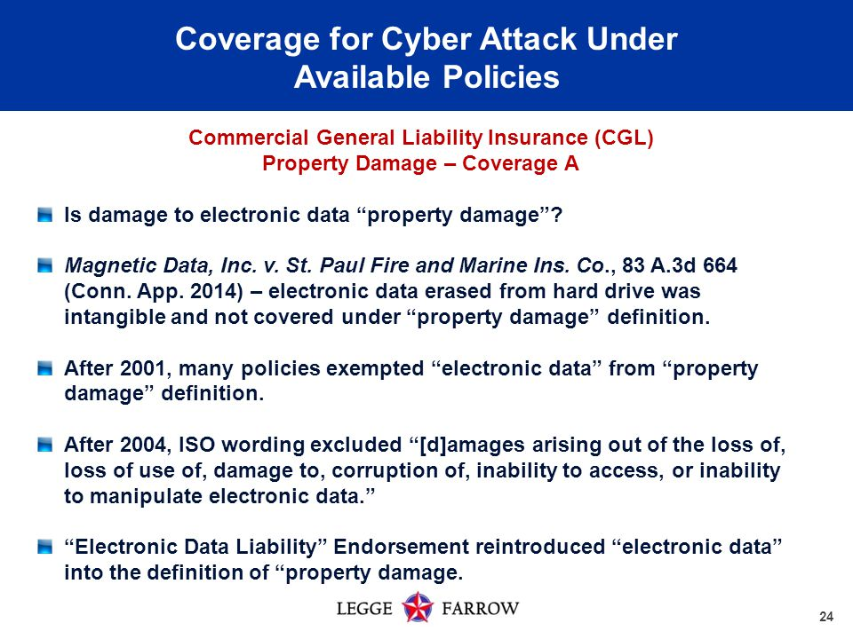 24 Coverage for Cyber Attack Under Available Policies Commercial General Liability Insurance (CGL) Property Damage – Coverage A Is damage to electronic data property damage .